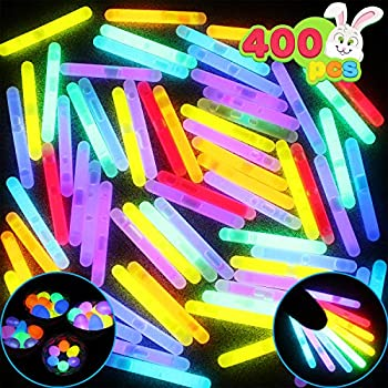 400 Glow Sticks 1.7  Bulk with 8 Colors for Glow Easter Egg Kids Glow-in-The-Dark Easter Basket Stuffers Gift Easter Party Favors Christmas Halloween Party Supplies 4th of July & Independent Day