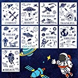 Inspirational Painting Stencils, 9PCS Motivational Quote Outer Space Planet Astronaut Wall Art Educational Plastic Templates for DIY Crafts Playroom Bedroom Nursery Library Decor