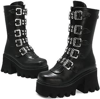 MWbetsy Plataforma para Mujer Martin Botas, Vintage Gótico Punk Rodilla Botas Altas Cinturón Metal Hebilla Atrás Zipper Mi...