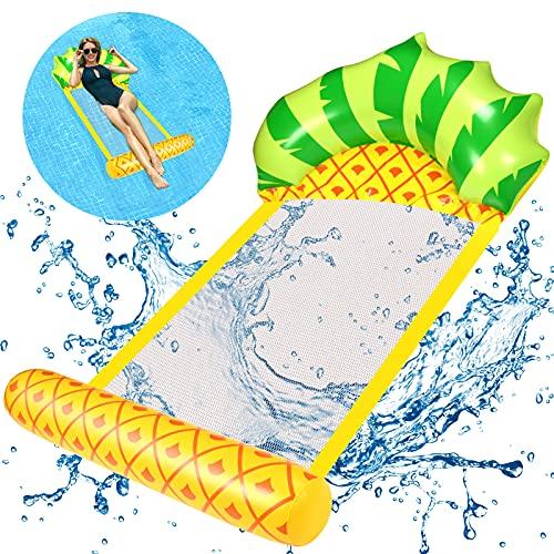 EKKONG Pool Hängematte, Badeinsel Aufblasbar Luftmatratze Aufblasbarer Sessel Wasserhängematte Schwimmliege Poolspielzeuge Klappbare Maximale Belastbarkeit 150 kg (Ananas, 80 x 135cm)