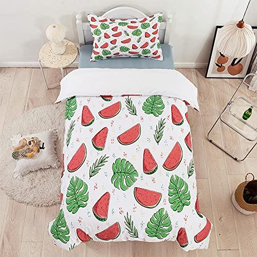 Qiuka® Niños Funda Nórdica,240x220cm Verde Rojo Fruta Tropical Juego de Cama Niña y Niños...