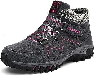 Bottes d'hiver Femme Homme Neige d'hiver Fourrure Lined Chaussures Outdoor Bottines Confortable Bottines,Graypink,38