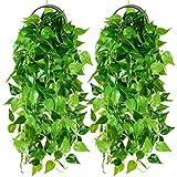 YQing 2 Pièces Artificielle Lierre Grimpant Plante, Fausse Plastique Lierre Guirlande Feuilles Liane Verte Fausses...