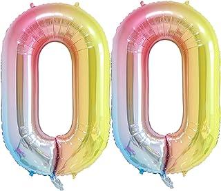 40 inch Number Balloons Foil Helium - 2 PCs Balloons for Birthday Party Decorations Mylar Rainbow Digital Jumbo Balloons for Wedding Anniversary (Rainbow, NO.0)
