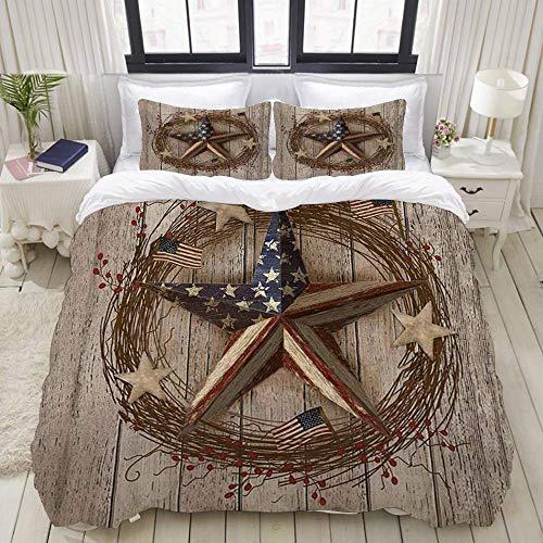 Funda nórdica, Country Primitive Barn Star Patriotic Barn Star on Country Tablero de Madera Americana, Juego de Cama Juegos de Microfibra de Lujo Ultra cómodos y Ligeros (3 Piezas)