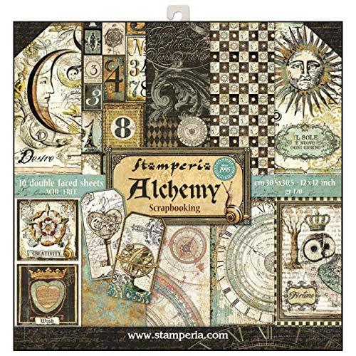"""STAMPERIA SBBL34 Papierblock 10 Blätter doppelseitig Alchemie, Papier, Mehrfarbig, 30.5 x 30.5 (12"""" x 12"""")"""