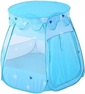 HO-TBO lektält, Toy House barntält vikbar indian lekstuga tipi tält Blue Mesh andas tält med bärväska Game House present (...