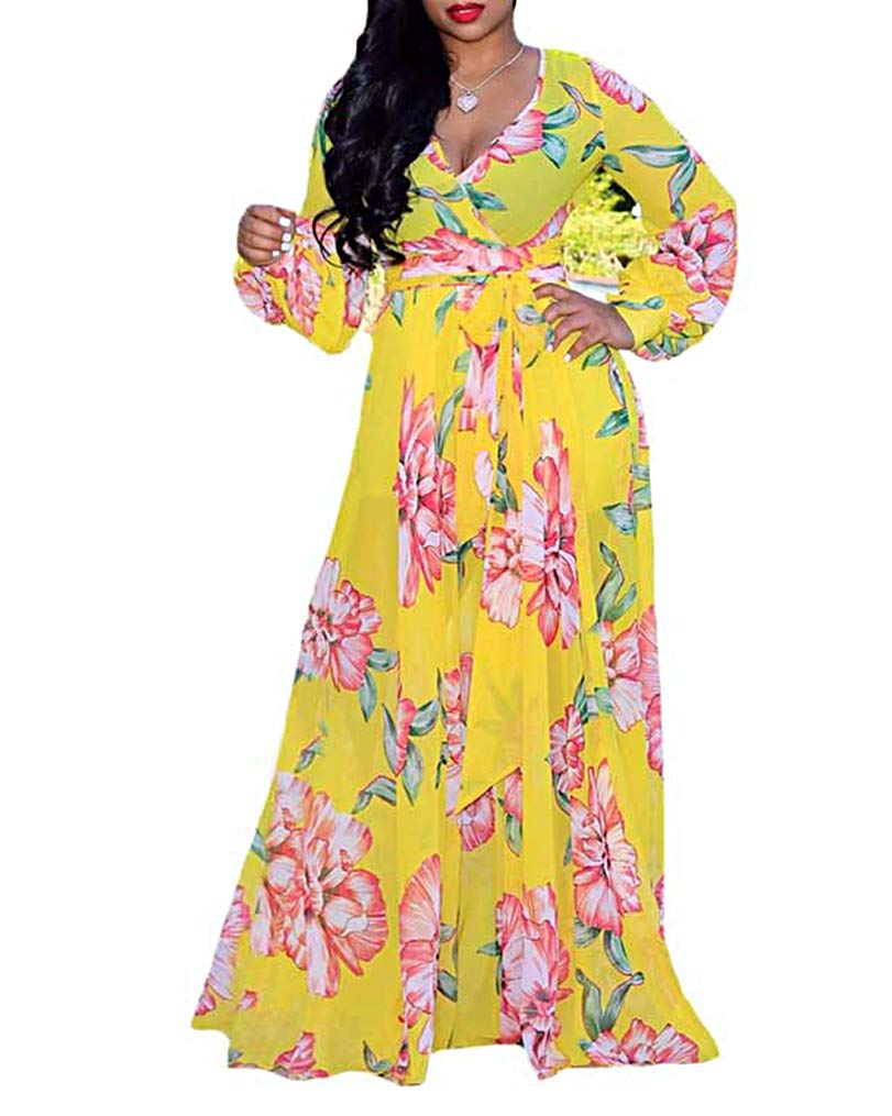 Available at Amazon: Women Floral Boho Maxi Dresses Sexy V Neck Chiffon Summer Long Sleeve Long Dress with Belt Beach Outfits
