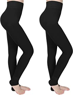 2 Pares Leggings Térmicas Mujer, Negro Cálidas de Invierno Leggings para Mujer Terciopelo Elástico Mallas Pantalon Termico...