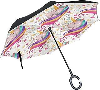 Isaoa grande ombrello invertito ombrello antivento doppio strato Reversed ombrello pieghevole per uso in auto c-shaped manico ombrello ombrello gatto bianco e nero per donne e uomini