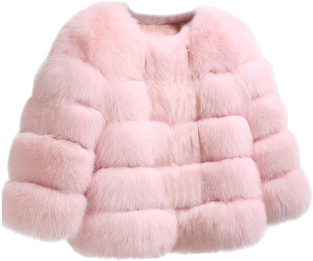 Furry Faux Fur Jacket Women, NRUTUP Faux Fox Fur Plush Collarless Jacket Fuzzy Winter Coat Warm Casual Party Outwear