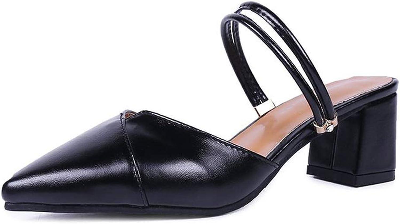 Pointed Toe Block Strap Closed Shallow High Heels shoes Sandals Black Beige Korean Pumps 2019