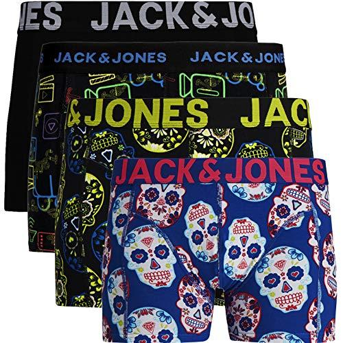 JACK & JONES Boxershorts 4er Pack Herren Trunks Shorts Baumwoll Mix Unterhose (XL - 4er, Mehrfarbig #50)