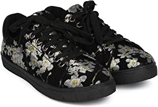 Z.Emma Women's Embroidered Floral Breathable Slip On Platform Fashion Sneakers MS06