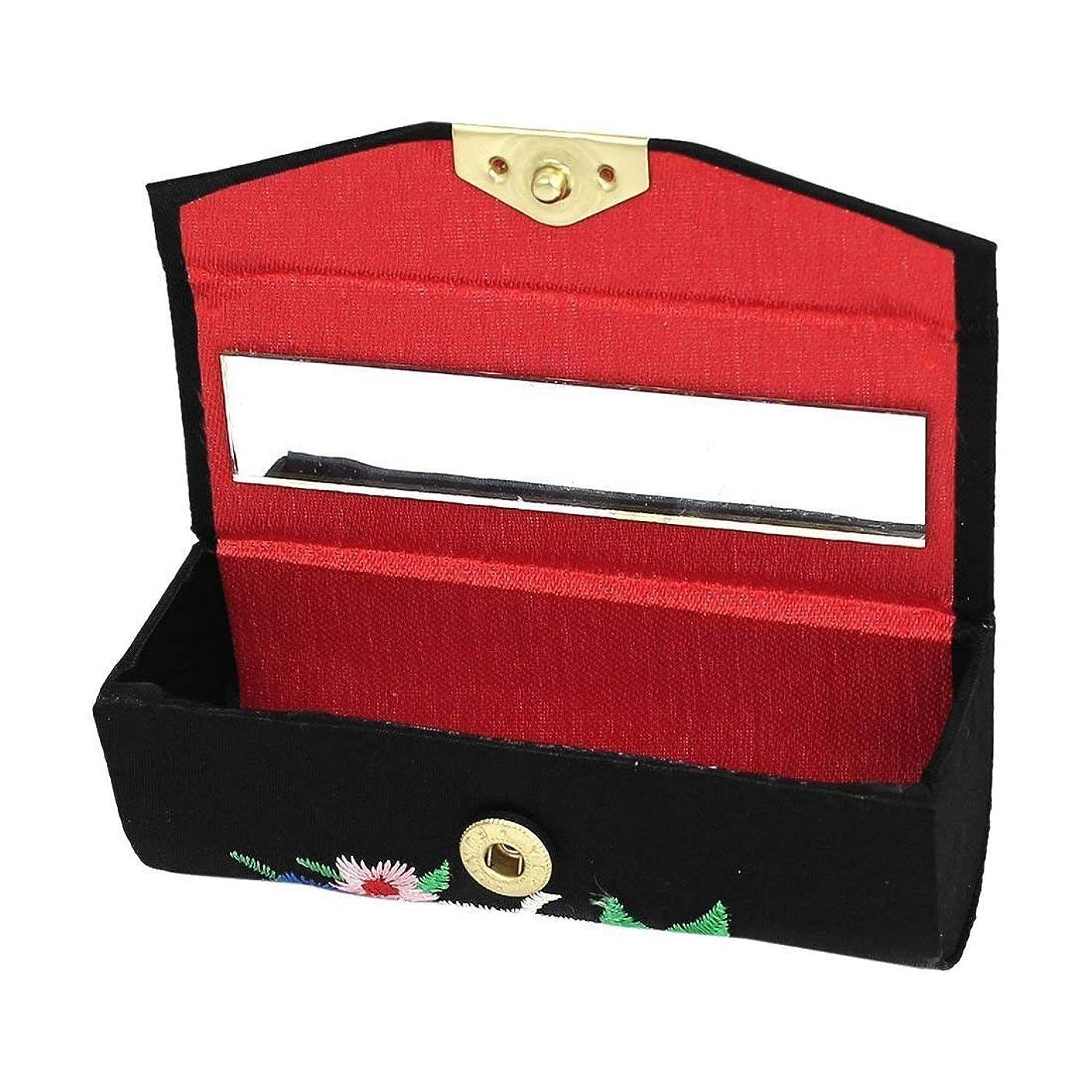 注釈未来マオリ1st market プレミアム品質花刺繍レディー口紅リップチャップスティック化粧ケースボックスブラック