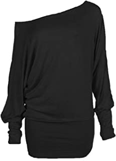 Crazy Girls Women's Long Sleeve Off Shoulder Plain Batwing Top