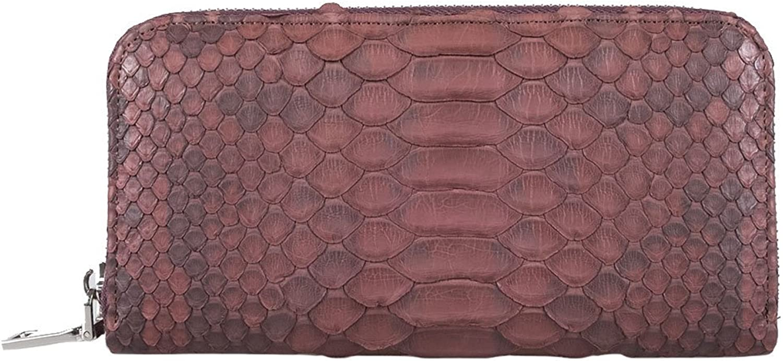 Genuine Python Leather Brown Long Wallet Zip Around Lady Card Bill Clutch Purse
