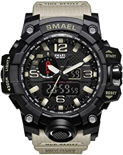 SMAEL Boy's Military Watch, Big Face Sports Watch Army Style Multifunctional Wrist Watch for Youth - khaki