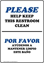 Please Help Keep This Restroom Clean Bilingual Sign, 14x10 in. Aluminum for Restrooms by ComplianceSigns