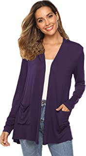 POGTMM Women's Casual Lightweight Fall Soft Open Front Long Sleeve Cardigans Sweater with Pockets