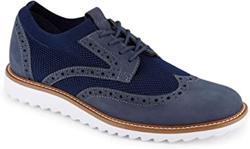 Dockers Mens Hawking Knit/Leather Smart Series Dress Casual Wingtip Oxford Shoe with NeverWet, Navy, 11.5 M