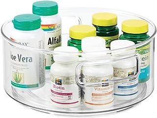 mDesign Lazy Susan Taca – obrotowy, okrągły pojemnik do przechowywania leków i suplementów zdrowotnych – idealny organizer...