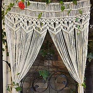 マクラメ 壁掛けカーテン,大きな 手織り ボヘミアン 壁タペストリー,ヴィンテージ 綿 のれん 入り口のカーテン カーテン 結婚式の背景 For キッチン 寝室 装飾-白 95x180cm(37x71inch)