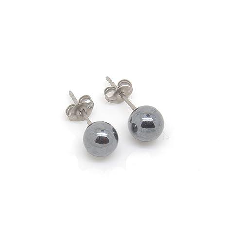 193c3d289 Titanium Hypoallergenic Stud Earrings with Natural Stones 6 mm, Malachite,  Turquoise, Lapis Lazuli