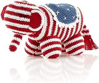 Pebble | Handmade Stuffed Animal—Red, White and Blue Elephant | Americana | Crochet Baby Toy | Fair Trade | Pretend Play | Nursery | Machine Washable