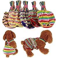 RC GearPro Pack de 2 pañales Lavables Perros, Bragas sanitarias para Mascotas con Liguero para Perras, Color al Azar (XS)