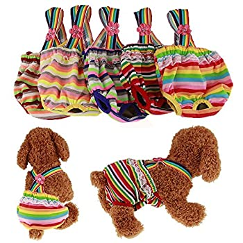 Pack of 2 Pet Dog Cat Physiological Shorts Doggy Kitten Underwear Pants Diapers Strip Design Tighten Strap Sanitary Briefs Panties for Puppy Kitty Color at Random  XS