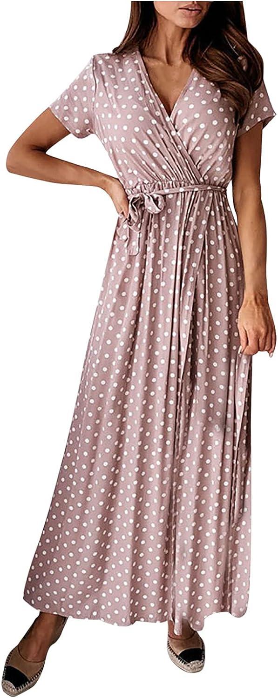 Womens Dresses Short Sleeve Fashion Sexy V-Neck Bohemian Polka Dot Printing Long Skirt Fit Comfy Wedding Guests Dress
