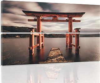 Feeby. Cuadro en Lienzo - 2 Partes - 120x80 cm - Forma Rectangular, Cuadros decoración, Imagen Impresa en Lienzo, ITSUKUSHIMA JINJA, JAPÓN, Cultura, MARRÓN