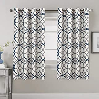 H.VERSAILTEX Blackout Curtains for Bedroom 63 Thermal Insulated Curtains for Living Room Window Treatment Grommet Curtain Draperies, Grey and Navy Geo Pattern - 2 Panels - 52 by 63 inch Each Panel