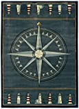 United Weavers of America Contours Collection Compass Rose Heavyweight Heatset Olefin Rug, 2-Feet 7-Inch by 4-Feet 2-Inch, Smoke Blue