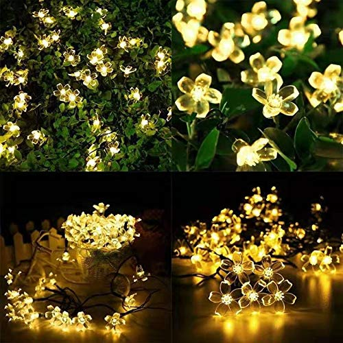 Vrtter Solar Outdoor Garden Lights, 50 Led Flower Lights 7m Solar String Lights, Waterproof 8 Modes Indoor/outdoor Fairy Lights, Used For Gardens, Terraces, Courtyards, Homes, Parties, Weddings, Holid