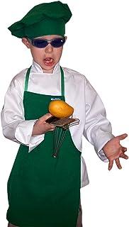 Chefsin - Delantal y gorro de chef, gran calidad, color azul, poliéster, Verde, Toddler (12-36 months)