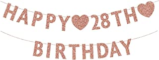Rose Gold 28th Birthday Banner, Glitter Happy 28 Years Old Woman or Man Party Decorations, Supplies