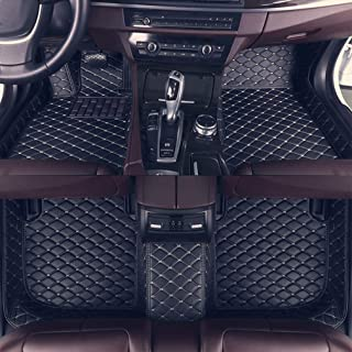8X-SPEED Custom Car Floor Mats Fit for Audi A4 2017-2019 Full Coverage All Weather Protection Waterproof Non-Slip Leather Liner Set Black Beige