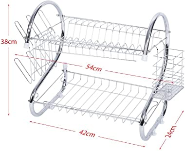 GOTOTOP Dish Drying Rack, 2 Tier Stainless Steel Dish Rack with Drainer Board Home Kitchen Utensil Plate Bowl Cup Holder Orga