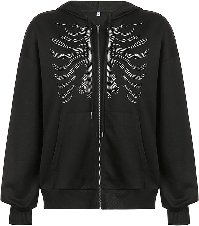 Y2k Skeleton Zip Up Hoodie for Women Casual Loose Pullovers Sweatshirt 90s Goth jacket with Pockets