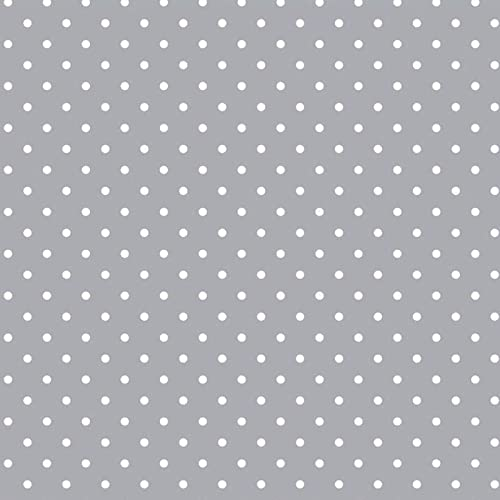 Small Grey Polka Dot Spots Tablecloth Vinyl Oil Cloth PVC Fabric Material