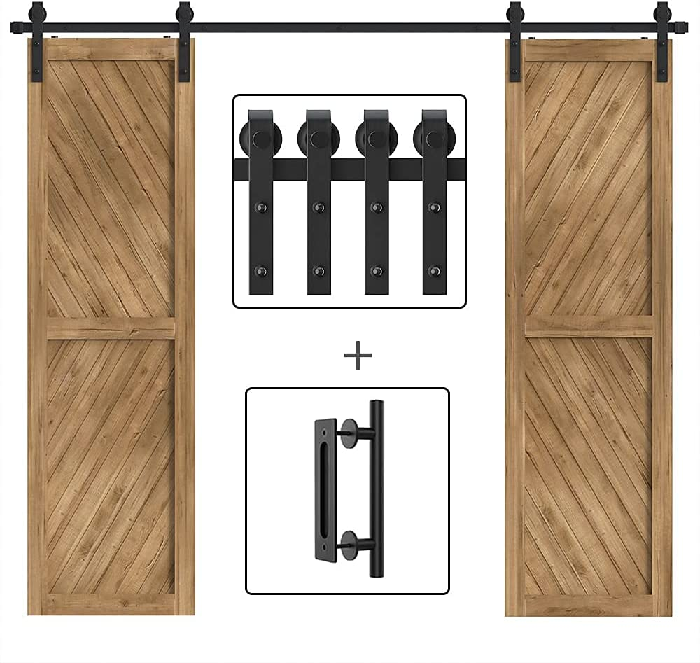 WINSOON 10FT Double Doors Sliding Barn Door Kit National products with 1p Hardware Popular product