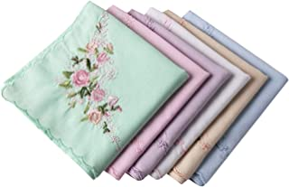 Ladies Soft Embroidered Rose Handkerchiefs-60s