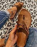 XQYPYL Sandalias para Mujer Flips Flops Cómodas Zapatillas de Plataforma Cómodas señoras Verano Playa Corrector juanetes ortopédico Resbalón en cuña Zapatos Antideslizantes Casuales,Marrón,38