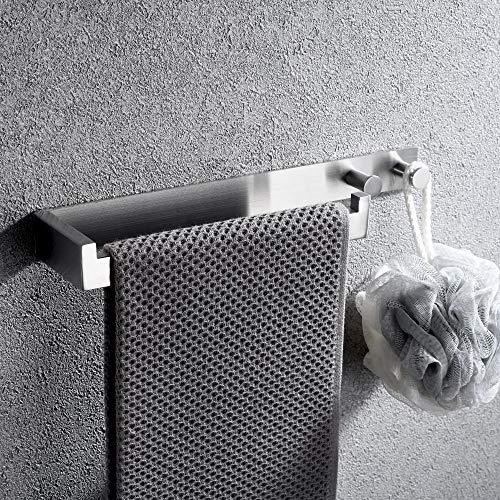 Lolypot Handtuchhalter Ohne Bohren mit Haken, Gebürstet Edelstahl Handtuchstange, Handtuchhaken Selbstklebend Badetuchhalter, Badetuchstange Bademantelhaken für Bad und Küche