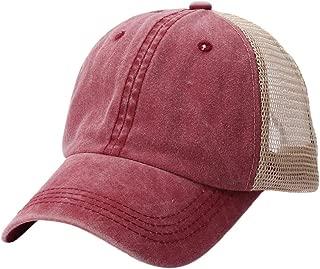 XGao Baseball Hats for Women, Unisex Men Women Baseball Cap Summer Outdoor Cotton Embroidery Net Hat Hats Caps Red Black (Wine)
