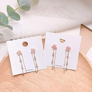 Erin Earring Korean Elegant Flower Earrings Dangling Metal Chain Earrings Shiny Crystal Long Pendant Girl Sweet