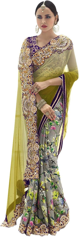 INMONARCH Womens Designer Olive Net Saree SSR3814