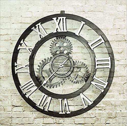 YLCJ L Wandklok, Amerikaans, vintage, antiek-look, houten klokjes, industriële klokken, lounge-bar, wandklok, met kleurenscherm (industrie)